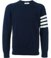 thom browne 4-bar french terry cashmere sweatshirt - blue