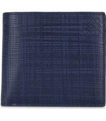 loewe bi-fold crosshatch leather wallet - blue
