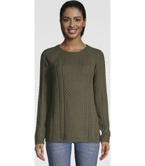 cotton cable-stitch sweater, loden, x large