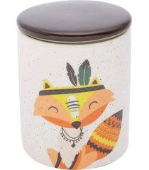 potiche cerã¢mica granilite apache fox branco 10,3x10,3x13 cm urban - branco - dafiti