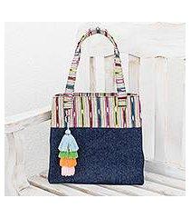 cotton shoulder bag, 'striped rain' (guatemala)