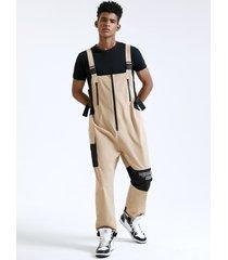 monos de tirantes con pechera de cintura alta con estampado de letras en bloque de color estilo callejero para hombre mono