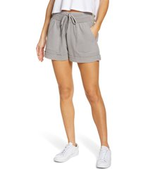 zella washed organic cotton shorts, size large in grey alloy at nordstrom