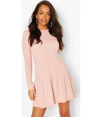 geribbelde gesmokte jurk met laagjes, blush