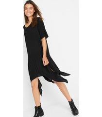 crêpe jurk met puntige onderrand