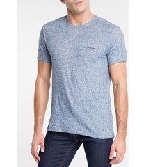 camiseta masculina desfibrada azul médio calvin klein jeans - p