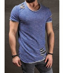 hombres summer casual cotton plain ripped delgado camiseta ajustada
