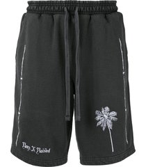 bornxraised embroidered palm shorts - grey