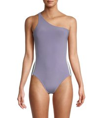 norma kamali women's side-stripe one-shoulder one-piece swimsuit - violet - size s