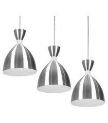 kit 3 lustre pendente califórnia de alumínio escovado