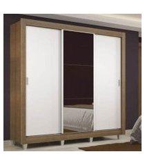 guarda roupa casal madesa lyon 3 portas de correr com espelho 2 gavetas com pés rustic/branco branco