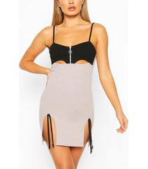 cut out mini dress with side split detail, grey