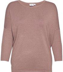 a2561, knit blouse w rib sl stickad tröja rosa saint tropez
