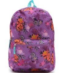 mochila clio style flores roxa - tricae