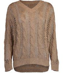 open weave paillette sweater