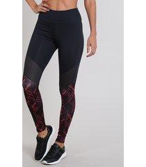 calça feminina legging esportiva ace estampado preta