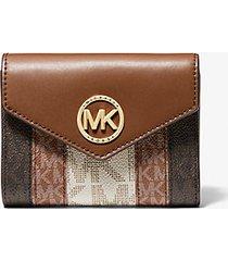 mk portafoglio a tre ante carmen medio color-block con logo - cuoio (marrone) - michael kors