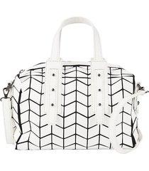 patrizia luca women's geometric duffle weekend bag - white caviar