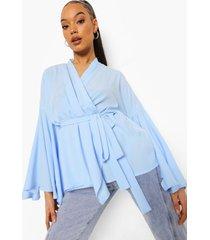 geweven wikkel blouse met wijde mouwen, light blue