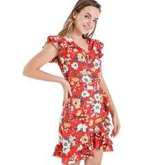 vestido floral cinturón rojo nicopoly