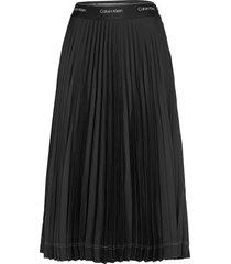 sunray pleat midi skirt knälång kjol svart calvin klein