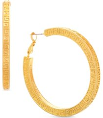 steve madden gold-tone medium patterned square hoop earrings, 1.37""