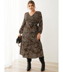 yoins plus talla abrigo de leopardo con cuello en v diseño cinturón diseño midi de manga larga vestido