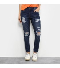 calça jeans skinny morena rosa bordado cintura média feminina