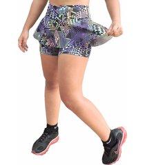 short saia estilo sedutor rodado em suplex estampado lilás com verde - kanui