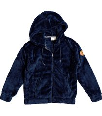 women's roxy head on down fleece zip hoodie, size large - blue