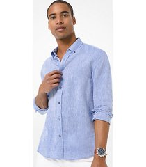 mk camicia slim-fit in lino - pop blue - michael kors