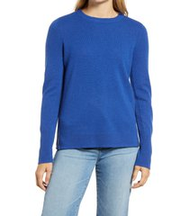 women's halogen crewneck cashmere sweater, size small - blue