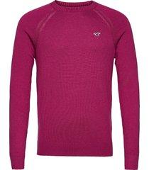 hco. guys sweaters stickad tröja m. rund krage rosa hollister