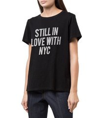 cinq à sept women's still in love with new york t-shirt - black white - size xs