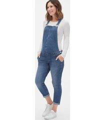 jardineira jeans gap slim liso gestante azul - azul - feminino - algodã£o - dafiti