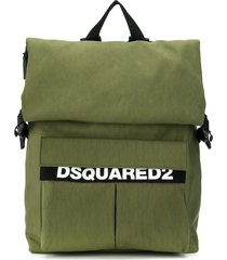 dsquared2 fold-down backpack with buckle fastening - green