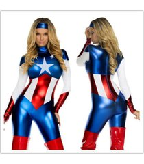 america superhero costume captain catsuit fancy cosplay dress halloween women