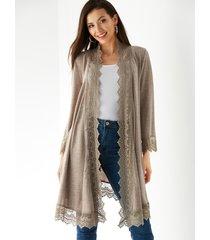 yoins kimono de manga larga con adornos de encaje de crochet café