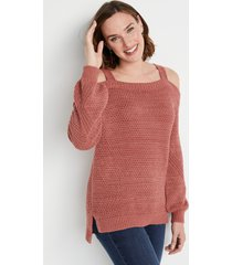 maurices womens solid cold shoulder blouson sleeve sweater brown
