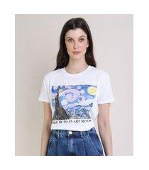 """t-shirt feminina mindset  art museum."""" manga curta decote redondo off white"""""""