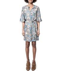 women's zadig & voltaire rhona wild garden tie waist dress, size x-small - blue
