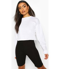 cotton long sleeve cropped top, white