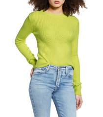 women's endless rose fitted sweater, size large - yellow