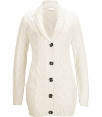 cardigan a trecce con collo a scialle (bianco) - bpc bonprix collection