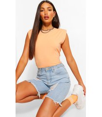 tall shoulder pad jersey t-shirt, peach