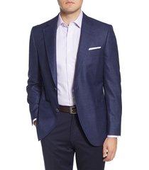 men's big & tall peter millar classic fit solid wool blend sport coat, size 52r - blue