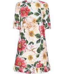 dolce & gabbana camellia-print viscose mini dress