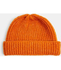 mens red gold chunky fluffy beanie