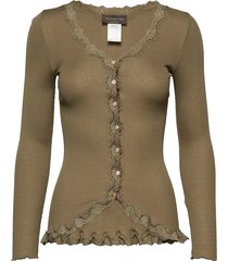 silk cardigan regular ls w/rev vint gebreide trui cardigan beige rosemunde