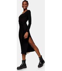 black jersey midi ribbed belted bodycon midi dress - black